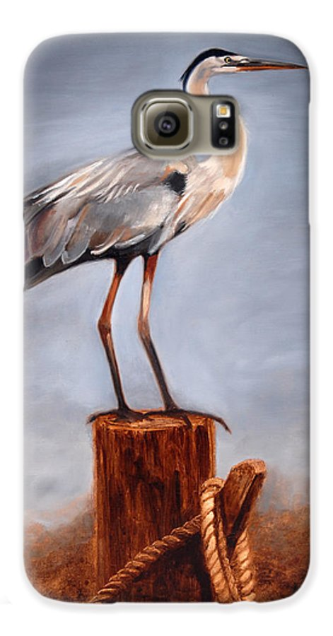 Heron Galaxy S6 Case featuring the painting Standing Watch by Greg Neal