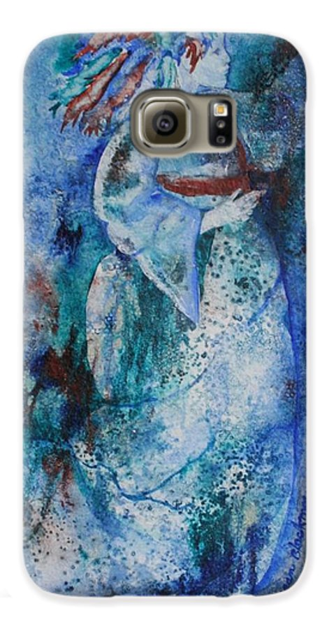Abstract Galaxy S6 Case featuring the painting Star Dancer by Jean Blackmer