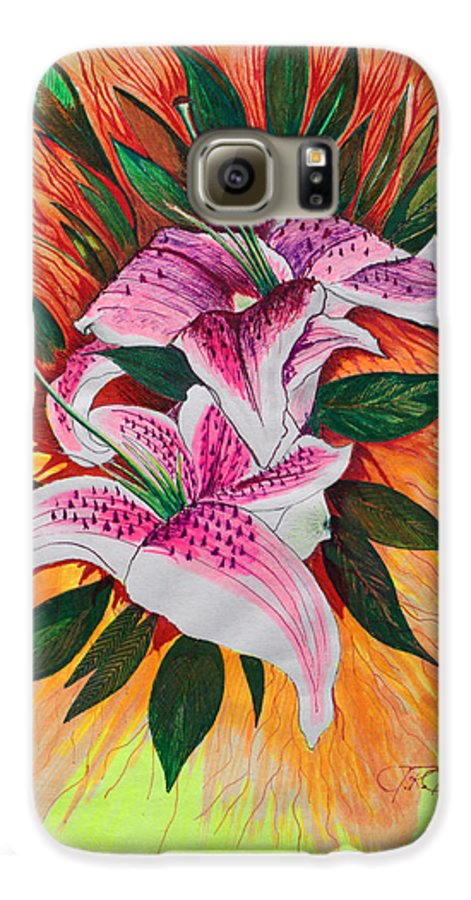 Flowers Galaxy S6 Case featuring the drawing Stargazers by J R Seymour