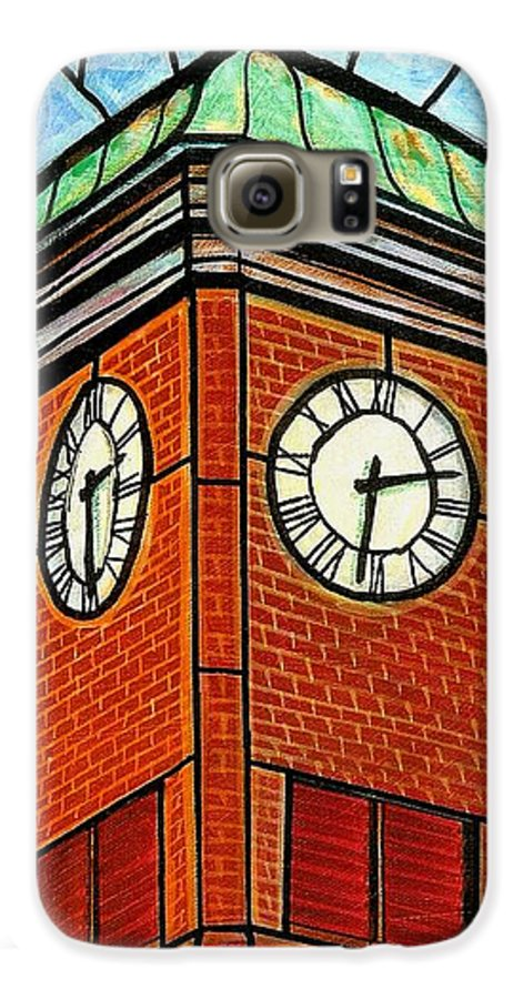 Clocks Galaxy S6 Case featuring the painting Staunton Clock Tower Landmark by Jim Harris