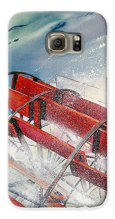 Paddlewheeler Galaxy S6 Case featuring the painting Sternwheeler Splash by Karen Stark