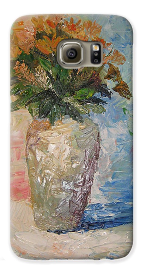 Still Life Vase Flowers Galaxy S6 Case featuring the painting Still Life Flowers by Maria Kobalyan