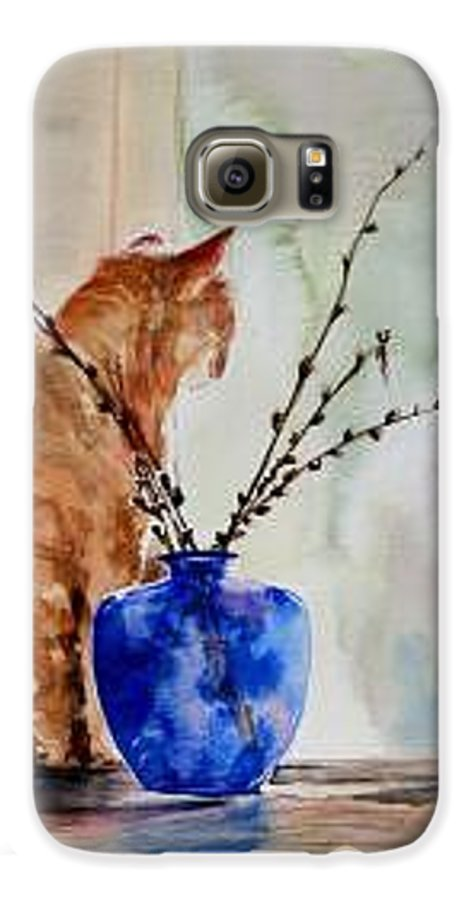 Cat Galaxy S6 Case featuring the painting Still Life by Lynee Sapere