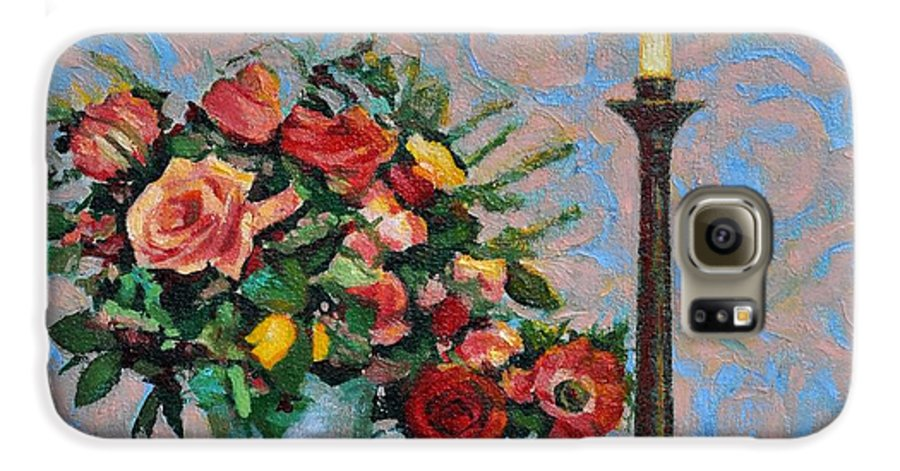 Flowers Galaxy S6 Case featuring the painting Still Life With A Lamp by Iliyan Bozhanov