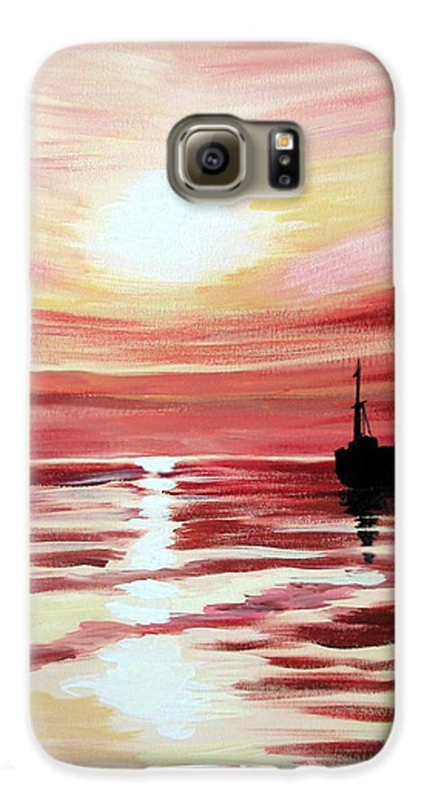 Seascape Galaxy S6 Case featuring the painting Still Waters Run Deep by Marco Morales