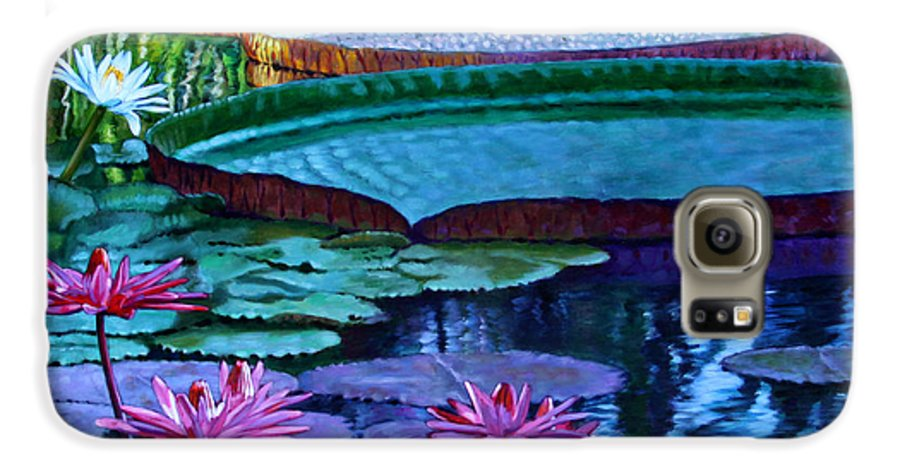 Garden Pond Galaxy S6 Case featuring the painting Stillness Of Color And Light by John Lautermilch