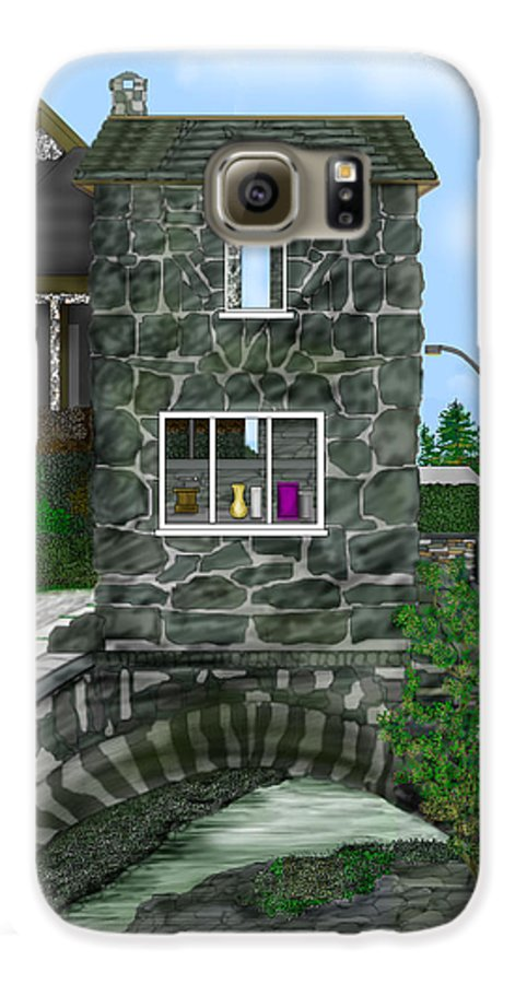 Landscape Galaxy S6 Case featuring the painting Stone Bridge House In The Uk by Anne Norskog