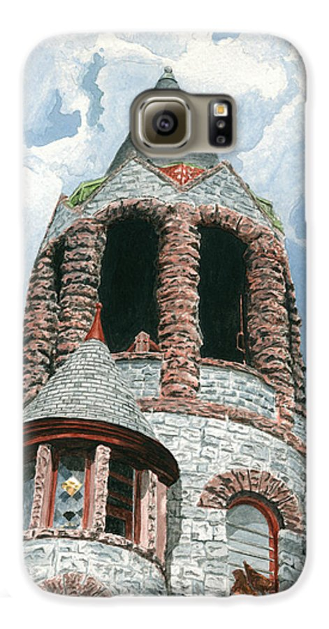 Church Galaxy S6 Case featuring the painting Stone Church Bell Tower by Dominic White