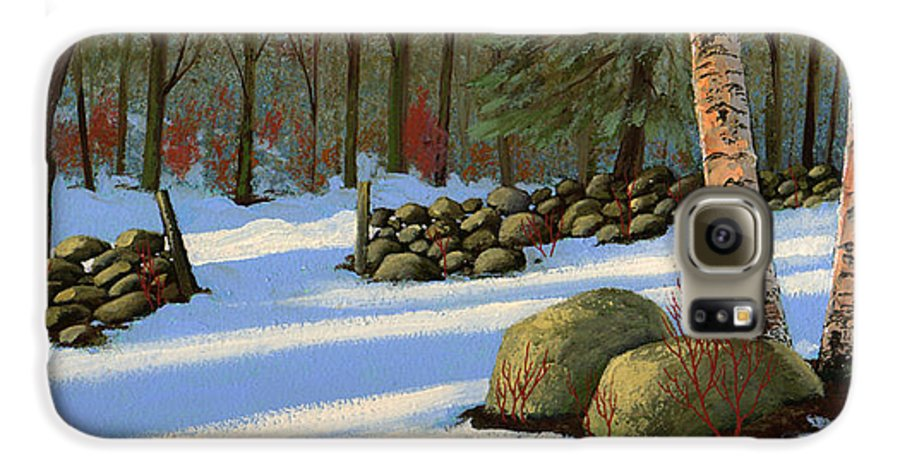 Landscape Galaxy S6 Case featuring the painting Stone Wall Gateway by Frank Wilson