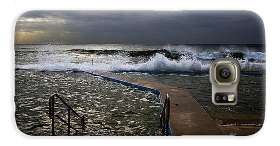 Storm Clouds Collaroy Beach Australia Galaxy S6 Case featuring the photograph Stormy Morning At Collaroy by Avalon Fine Art Photography