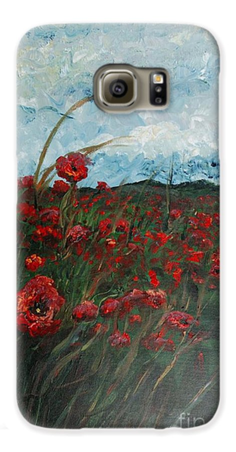Poppies Galaxy S6 Case featuring the painting Stormy Poppies by Nadine Rippelmeyer