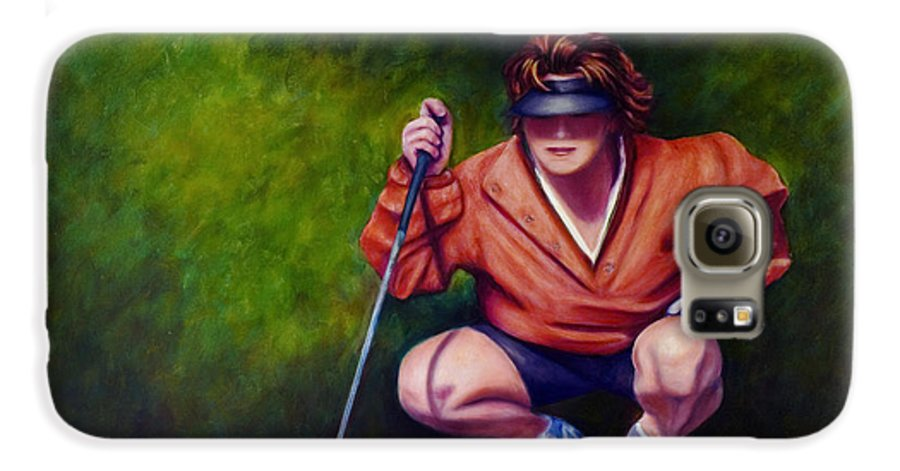 Golfer Galaxy S6 Case featuring the painting Straightshot by Shannon Grissom