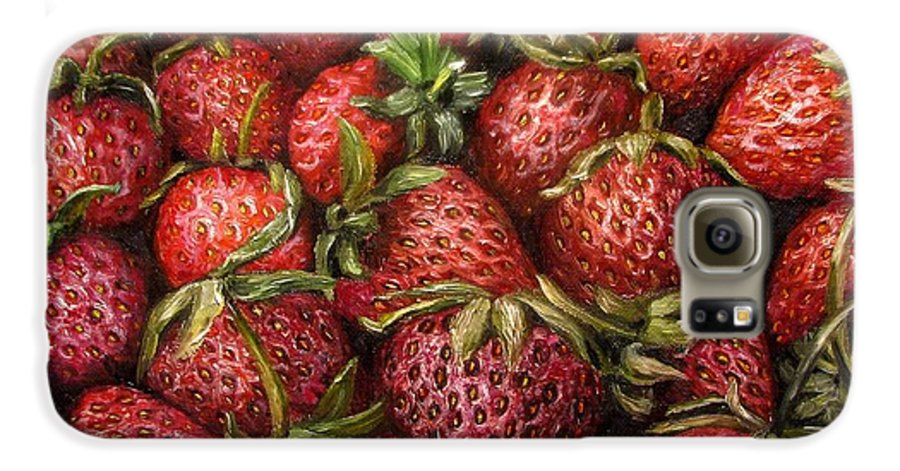 Strawberries Galaxy S6 Case featuring the painting Strawberries -2 Contemporary Oil Painting by Natalja Picugina