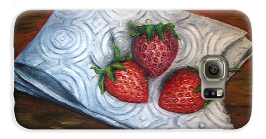 Strawberries Galaxy S6 Case featuring the painting Strawberries-3 Contemporary Oil Painting by Natalja Picugina
