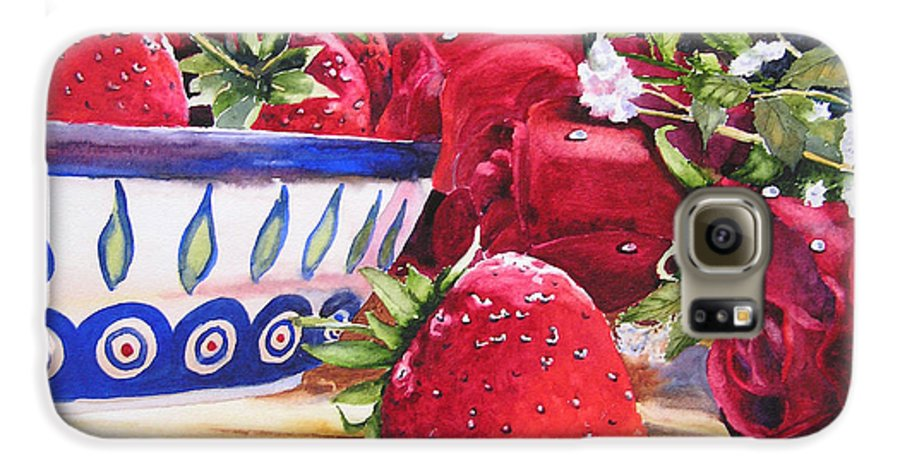 Strawberries Galaxy S6 Case featuring the painting Strawberries And Roses by Karen Stark