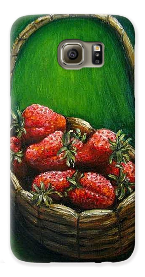 Strawberries Galaxy S6 Case featuring the painting Strawberries Contemporary Oil Painting by Natalja Picugina