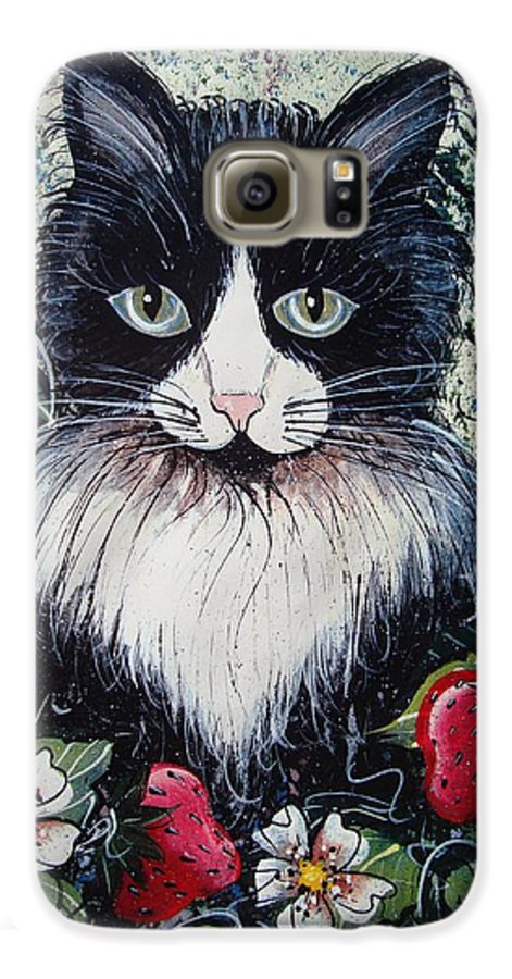 Cat Galaxy S6 Case featuring the painting Strawberry Lover Cat by Natalie Holland