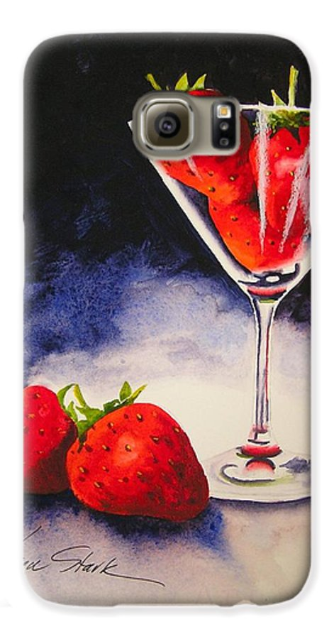 Strawberry Galaxy S6 Case featuring the painting Strawberrytini by Karen Stark