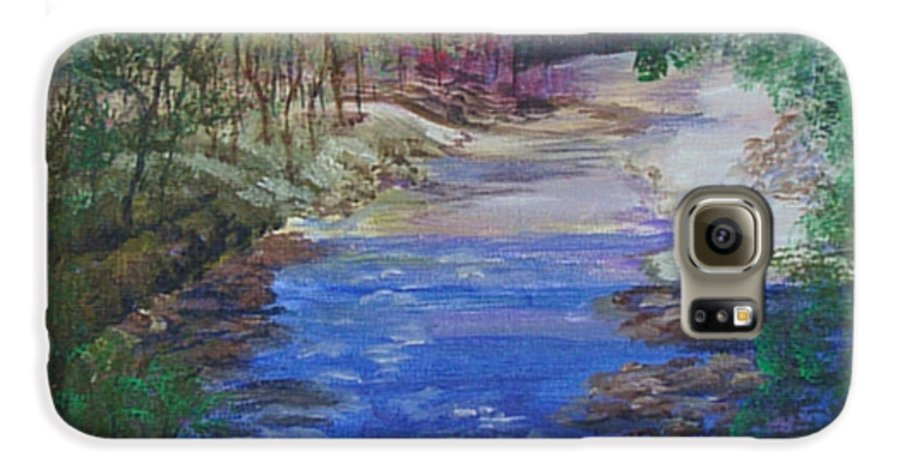 River Galaxy S6 Case featuring the painting Stream At Yosemite by Quwatha Valentine