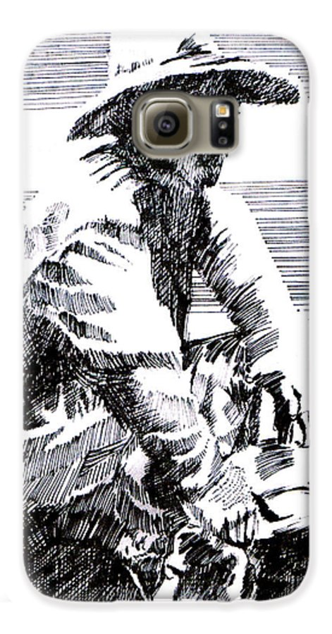1850's Old West Galaxy S6 Case featuring the drawing Striking It Rich by Seth Weaver