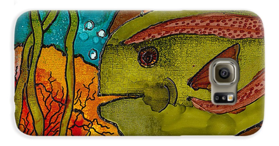 Fish Galaxy S6 Case featuring the painting Striped Fish by Susan Kubes