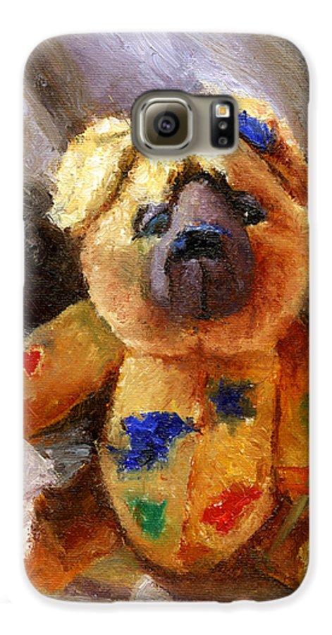 Teddy Bear Art Galaxy S6 Case featuring the painting Stuffed With Luv by Chris Neil Smith