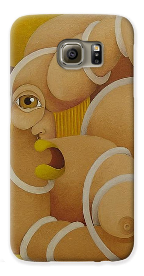 Sacha Galaxy S6 Case featuring the painting Suffering Woman 2003 by S A C H A - Circulism Technique