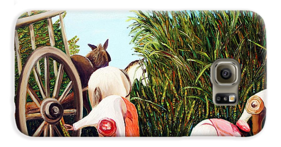 Cuban Art Galaxy S6 Case featuring the painting Sugarcane Worker 1 by Jose Manuel Abraham