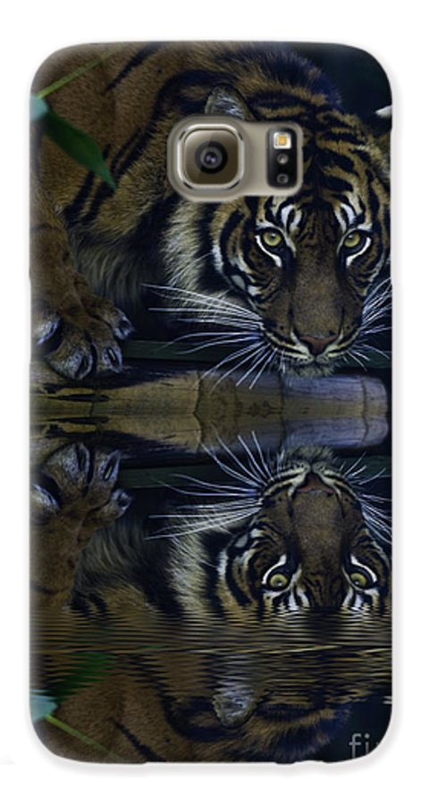 Sumatran Tiger Galaxy S6 Case featuring the photograph Sumatran Tiger Reflection by Sheila Smart Fine Art Photography