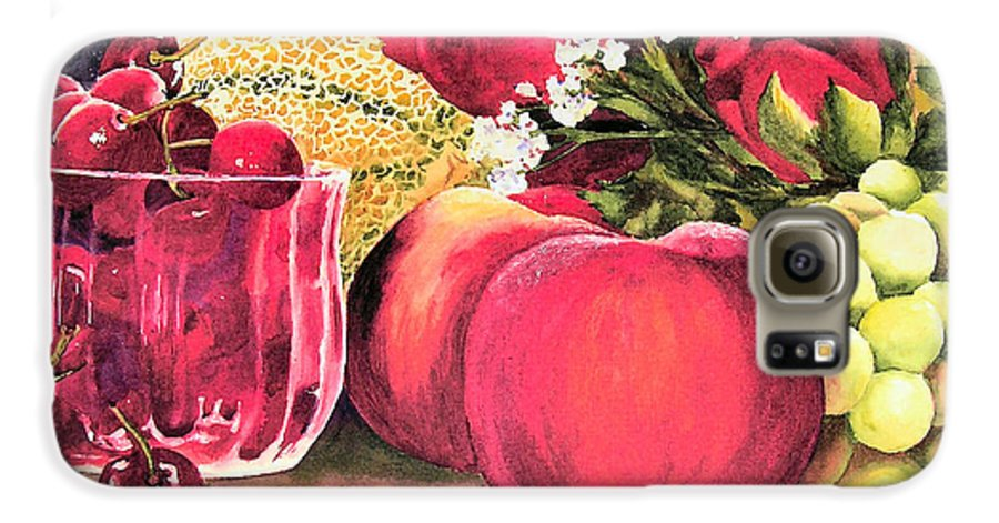 Cherries Galaxy S6 Case featuring the painting Summer Bounty by Karen Stark