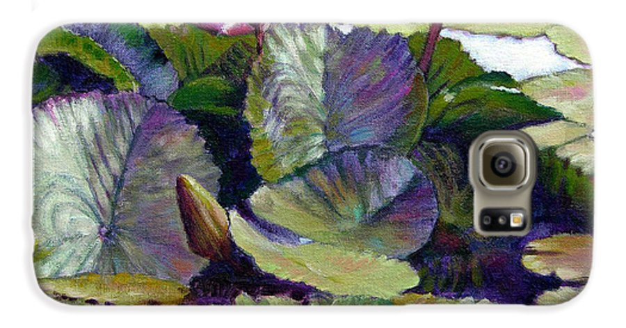 Water Lilies Galaxy S6 Case featuring the painting Summer Breeze by John Lautermilch