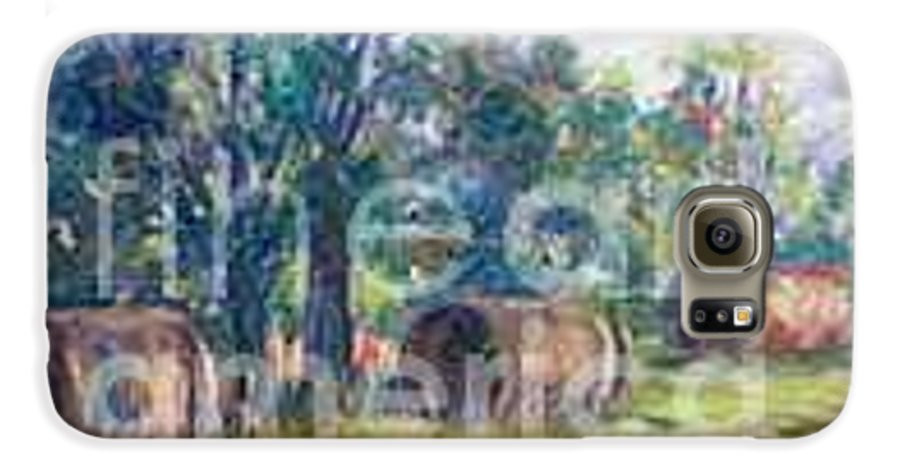 Landscape Galaxy S6 Case featuring the painting Summer Idyll by Jan Bennicoff