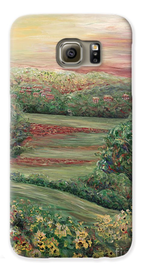 Landscape Galaxy S6 Case featuring the painting Summer In Tuscany by Nadine Rippelmeyer