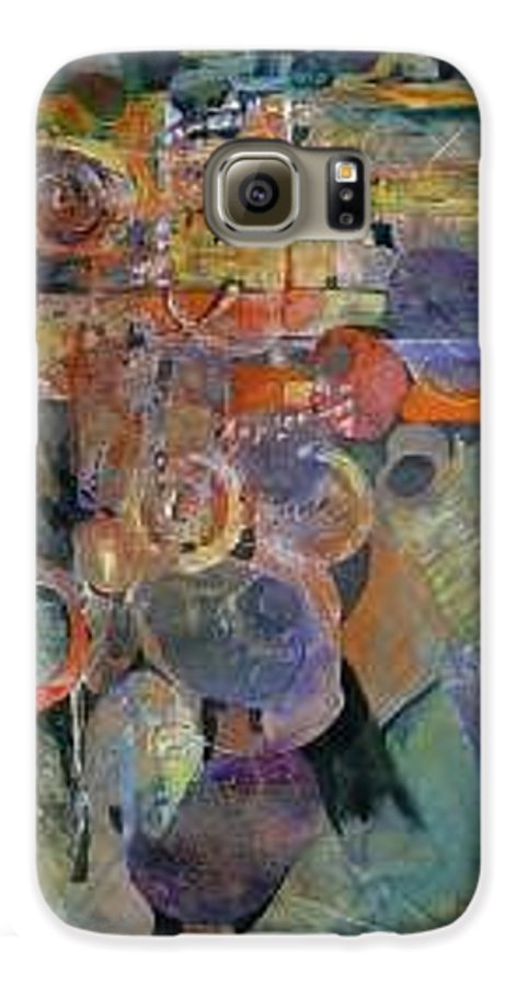 Abstract Shapes Galaxy S6 Case featuring the painting Summer Night City Uneartherd by Marlene Gremillion
