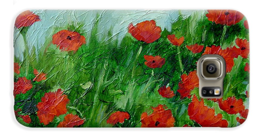 Red Poppies Galaxy S6 Case featuring the painting Summer Poppies by Ginger Concepcion