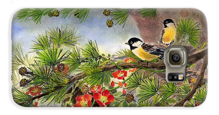 Chinese Trumpet Vine Galaxy S6 Case featuring the painting Summer Vine With Pine Tree by Eileen Fong