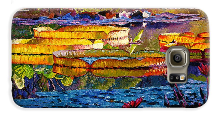 Water Lilies Galaxy S6 Case featuring the painting Sun Color And Paint by John Lautermilch