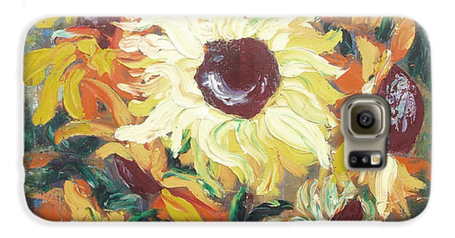 Sunflowers Galaxy S6 Case featuring the painting Sun In A Vase by Gina De Gorna