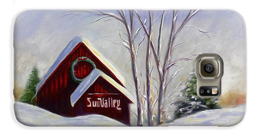 Landscape White Galaxy S6 Case featuring the painting Sun Valley 1 by Shannon Grissom