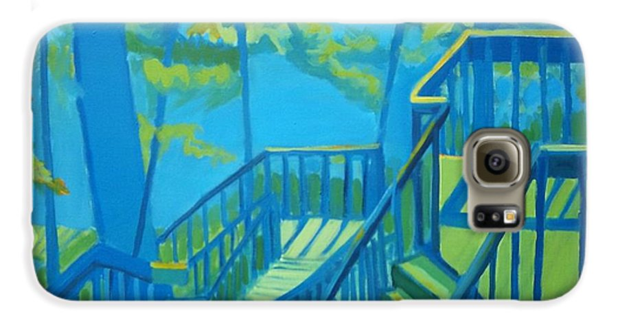 New Hampshire Galaxy S6 Case featuring the painting Suncook Stairwell by Debra Bretton Robinson