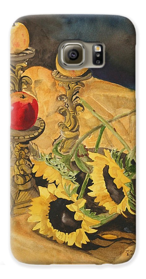 Still Life Galaxy S6 Case featuring the painting Sunflowers And Apples by Jean Blackmer