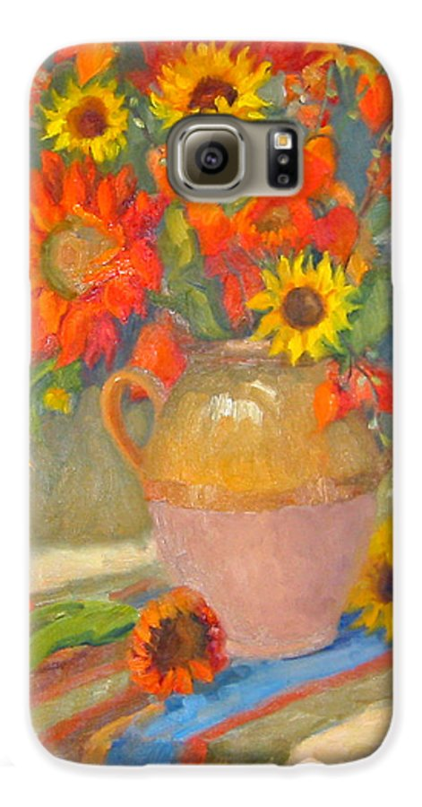 Sunflowers Galaxy S6 Case featuring the painting Sunflowers And More by Bunny Oliver