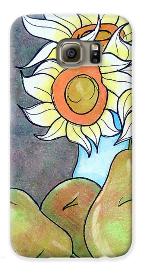 Sunflowers Galaxy S6 Case featuring the drawing Sunflowers And Pears by Loretta Nash