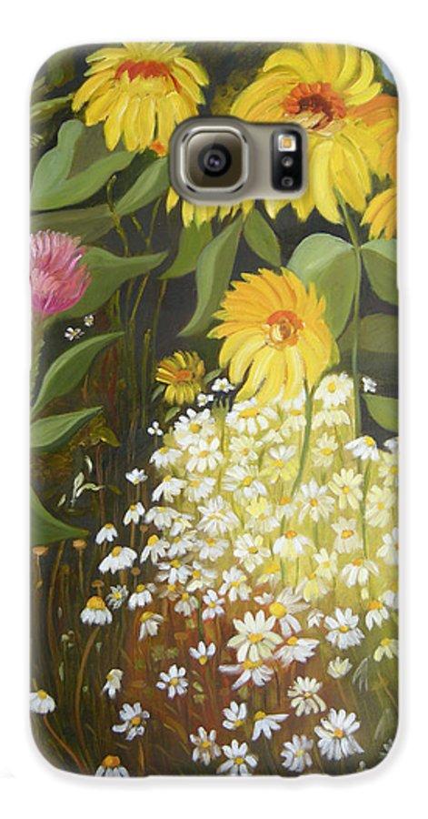 Landskape Galaxy S6 Case featuring the painting Sunflowers by Antoaneta Melnikova- Hillman