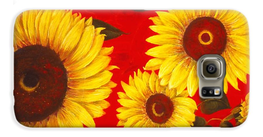 Flowers Galaxy S6 Case featuring the painting Sunflowers IIi by Mary Erbert