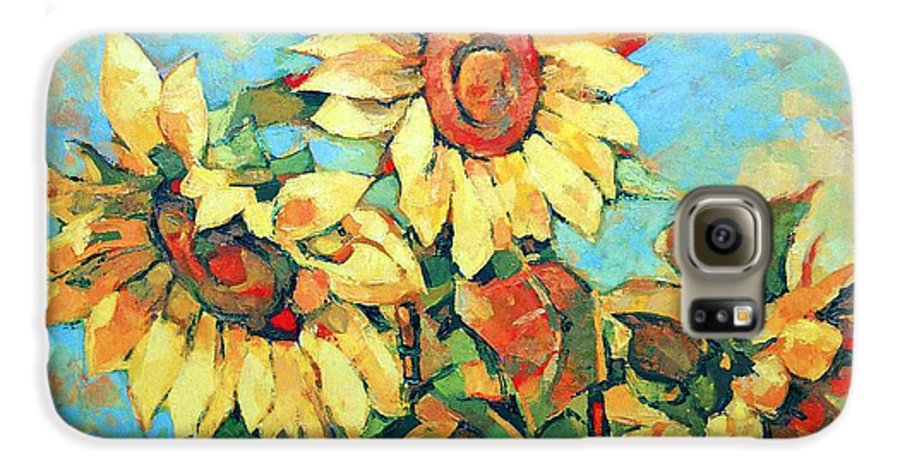 Sunflowers Galaxy S6 Case featuring the painting Sunflowers by Iliyan Bozhanov
