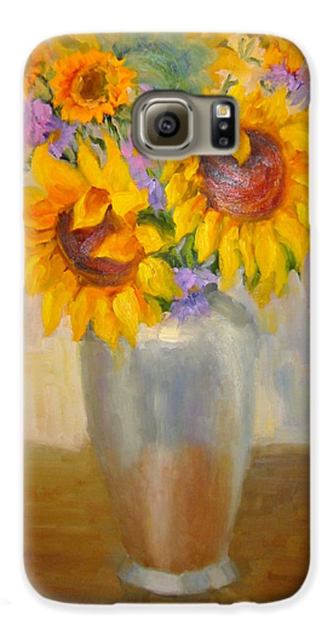 Sunflowers Galaxy S6 Case featuring the painting Sunflowers In A Silver Vase by Bunny Oliver