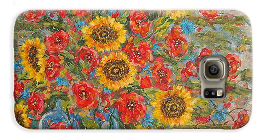 Flowers Galaxy S6 Case featuring the painting Sunflowers In Blue Pitcher. by Leonard Holland