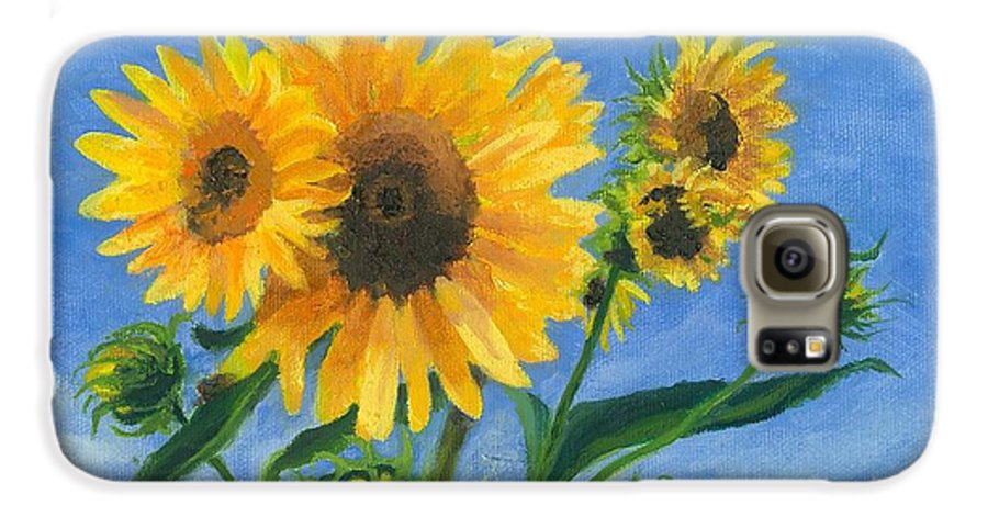 Flowers Galaxy S6 Case featuring the painting Sunflowers On Bauer Farm by Paula Emery