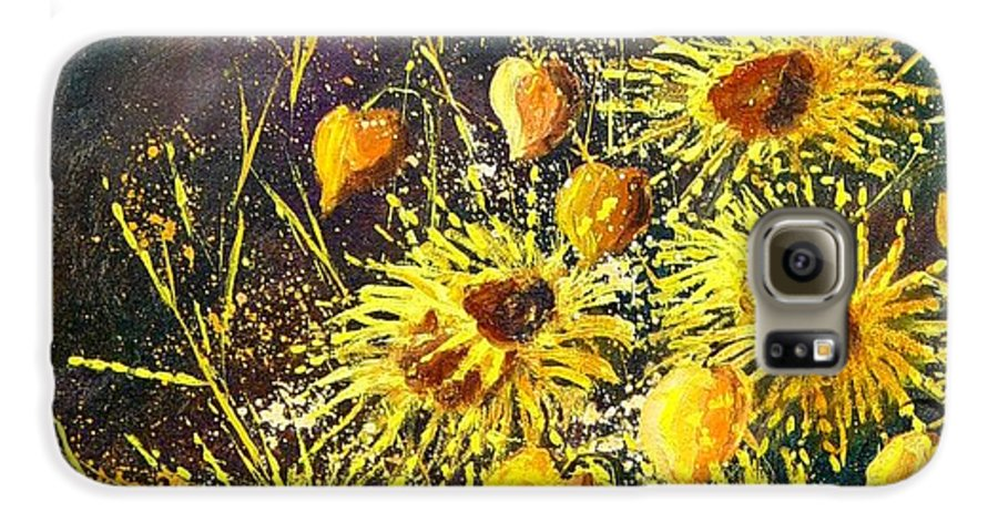 Flowers Galaxy S6 Case featuring the painting Sunflowers by Pol Ledent